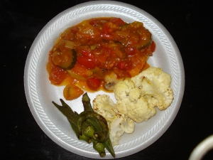 My dinner...polenta with ratatouille with roasted cauliflower and okra